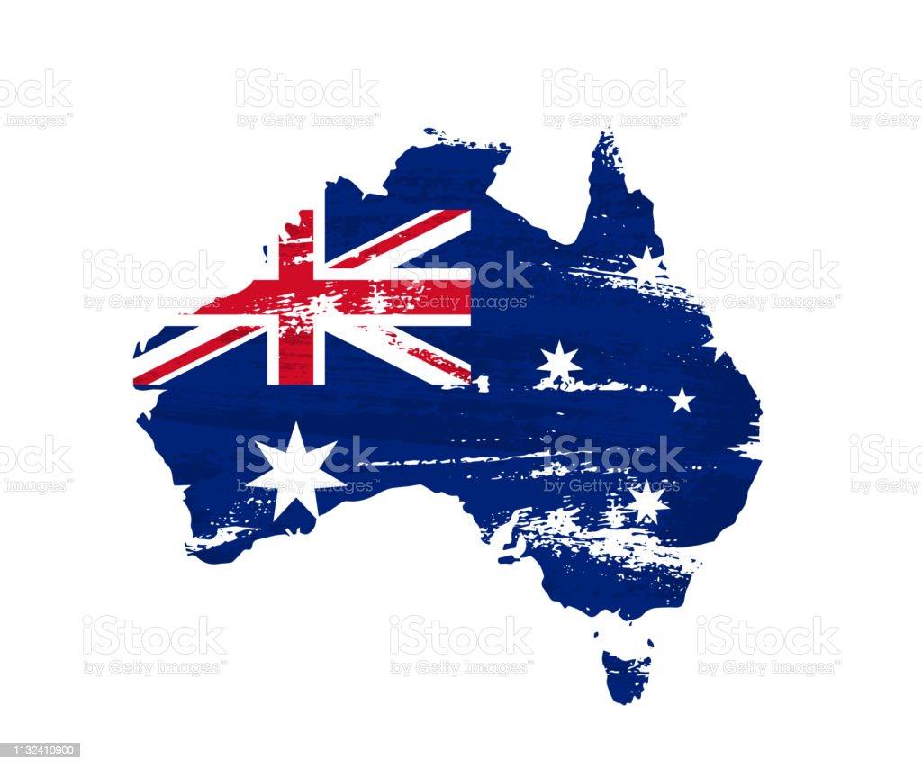 Carte Russie Australie.Drapeau Australien Sur La Carte De Grunge De Laustralie Disolement Sur Le Fond Blanc Illustration Vectorielle Vecteurs Libres De Droits Et Plus
