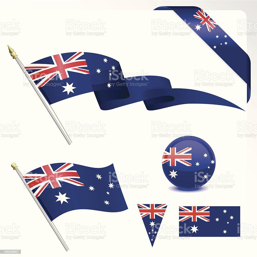 オーストラリア国旗セット ベクターアートイラスト
