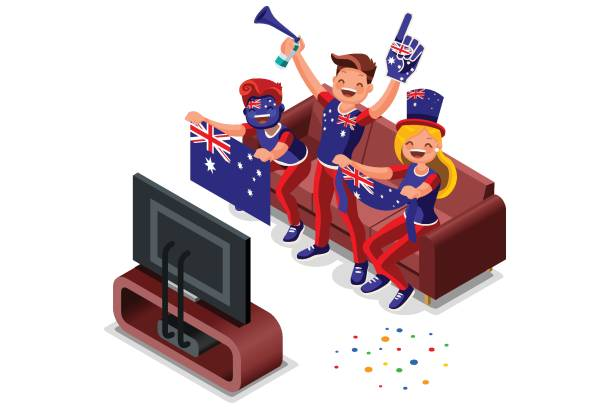 ilustrações de stock, clip art, desenhos animados e ícones de australian football fans - soccer supporter portrait