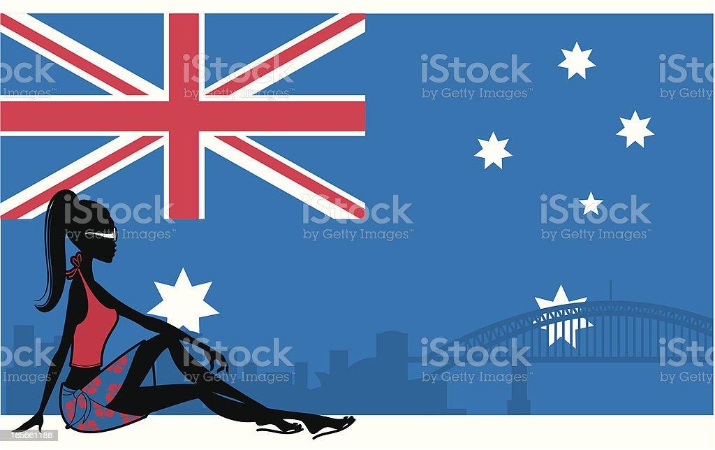Australian Girl vector art illustration
