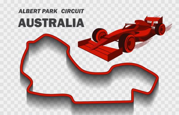 bildbanksillustrationer, clip art samt tecknat material och ikoner med australian grand prix race track för formel 1 eller f1. detaljerad kapplöpningsbana eller nationell krets - f1 melbourne