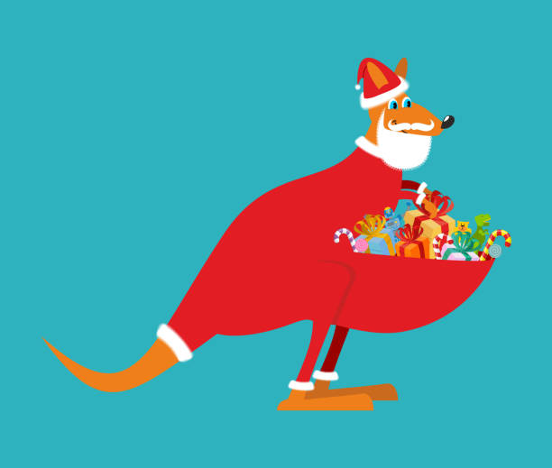 Australian Kangaroo Santa. Wallaby in Christmas cap. Gifts in ba Australian Kangaroo Santa. Wallaby in Christmas cap. Gifts in bag. Santa Claus Australia. Marsupials bears gifts in pouch australian christmas stock illustrations