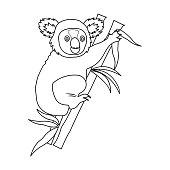 Australian koala icon in outline style isolated on white background. Australia symbol stock vector illustration.