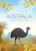 Australian landscape  poster with Emu.