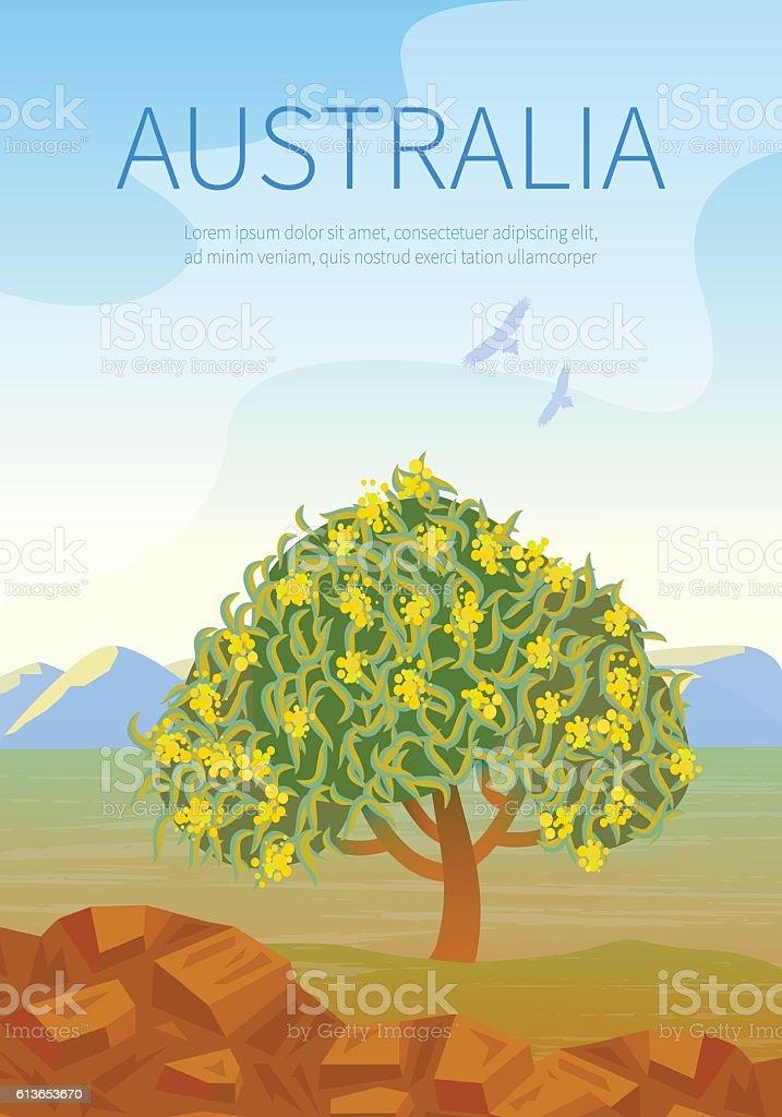 Australian landscape  poster with Golden Wattle. vector art illustration