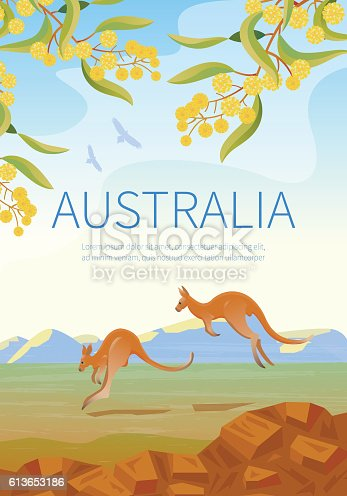 istock Australian landscape  poster with two Kangaroos. 613653186