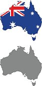 Australian map and flag