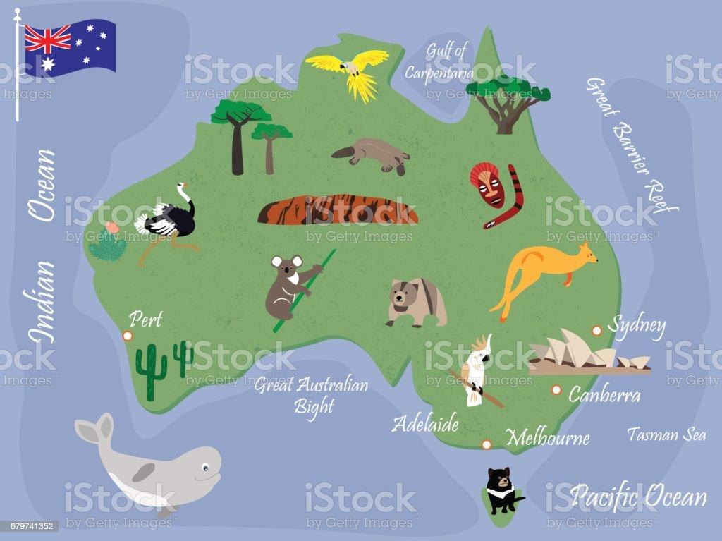 Australian map with animals and landmarks vector art illustration