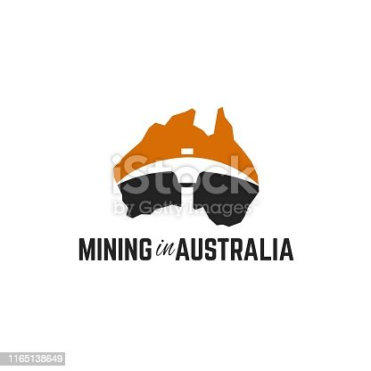 Australian map with gold mining tools graphic in negative space