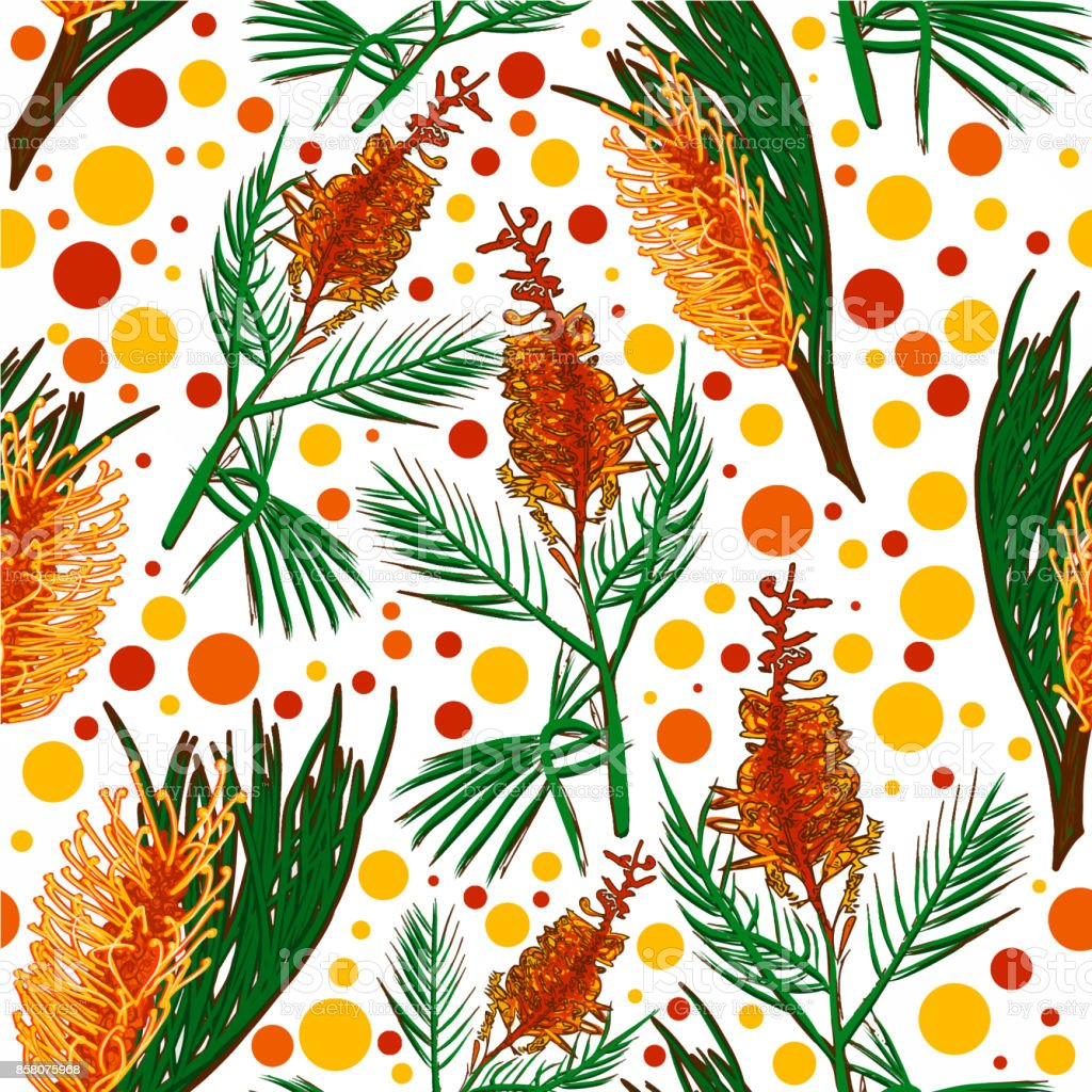 Australian Native Shade Plants: Australian Native Floral Seamless Pattern Bright Banksia
