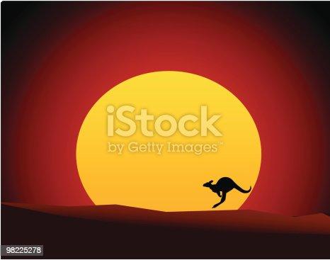 istock Australian Outback Sunset with Kangaroo/Wallaby (Vector Illustration) 98225278