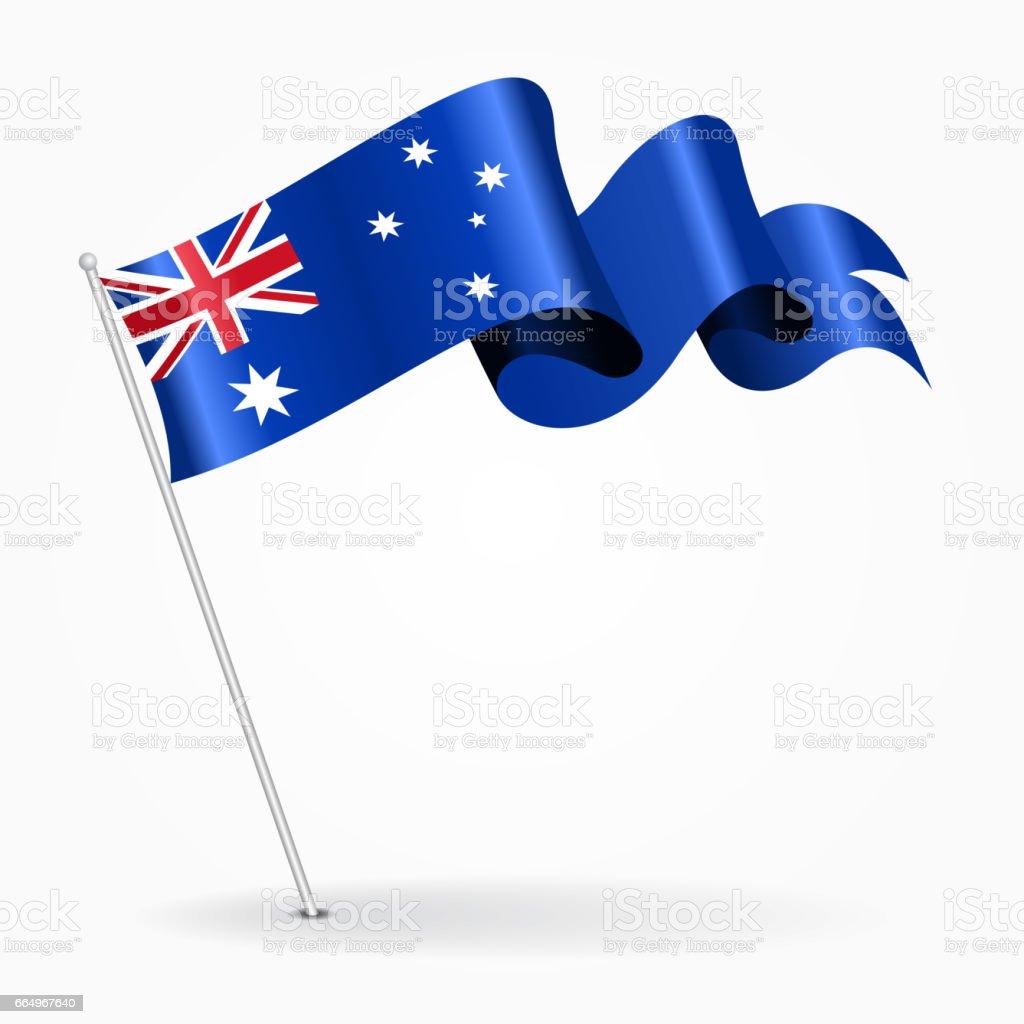 オーストラリア波状ピンフラッグ。ベクトルの図。 ベクターアートイラスト