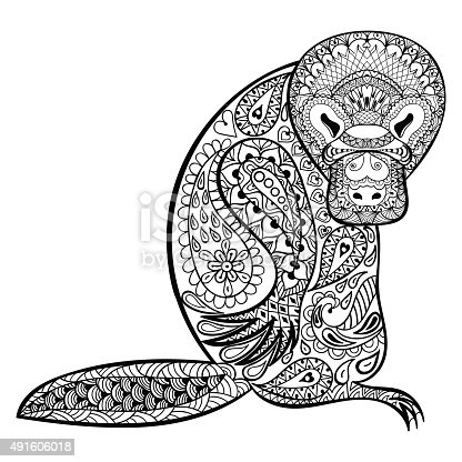 istock Australian platypus totem for adult anti stress Colori 491606018