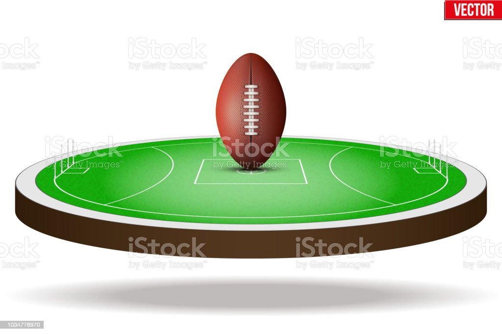 Australian rules football field stadium vector art illustration
