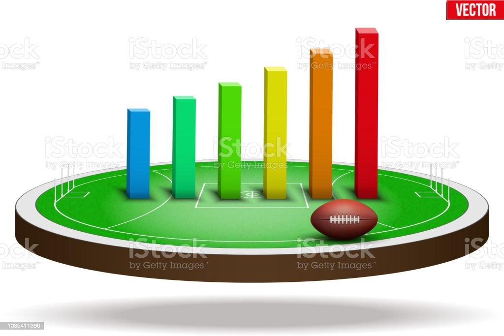 Australian rules football field stadium vector art illustration