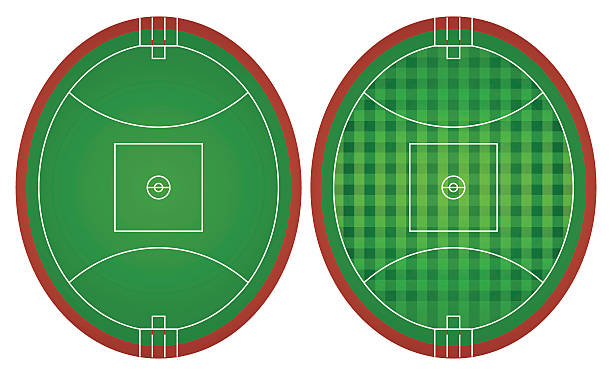Australian rules football fields vector art illustration