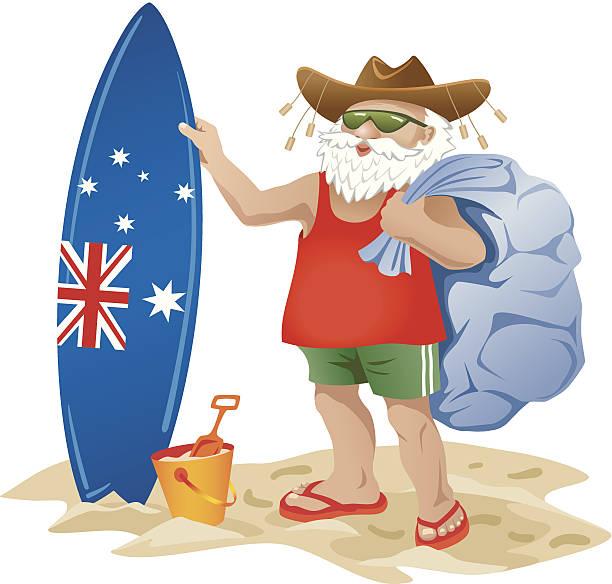 Australian Santa Clause on a beach with surfboard Australian Santa C australian christmas stock illustrations