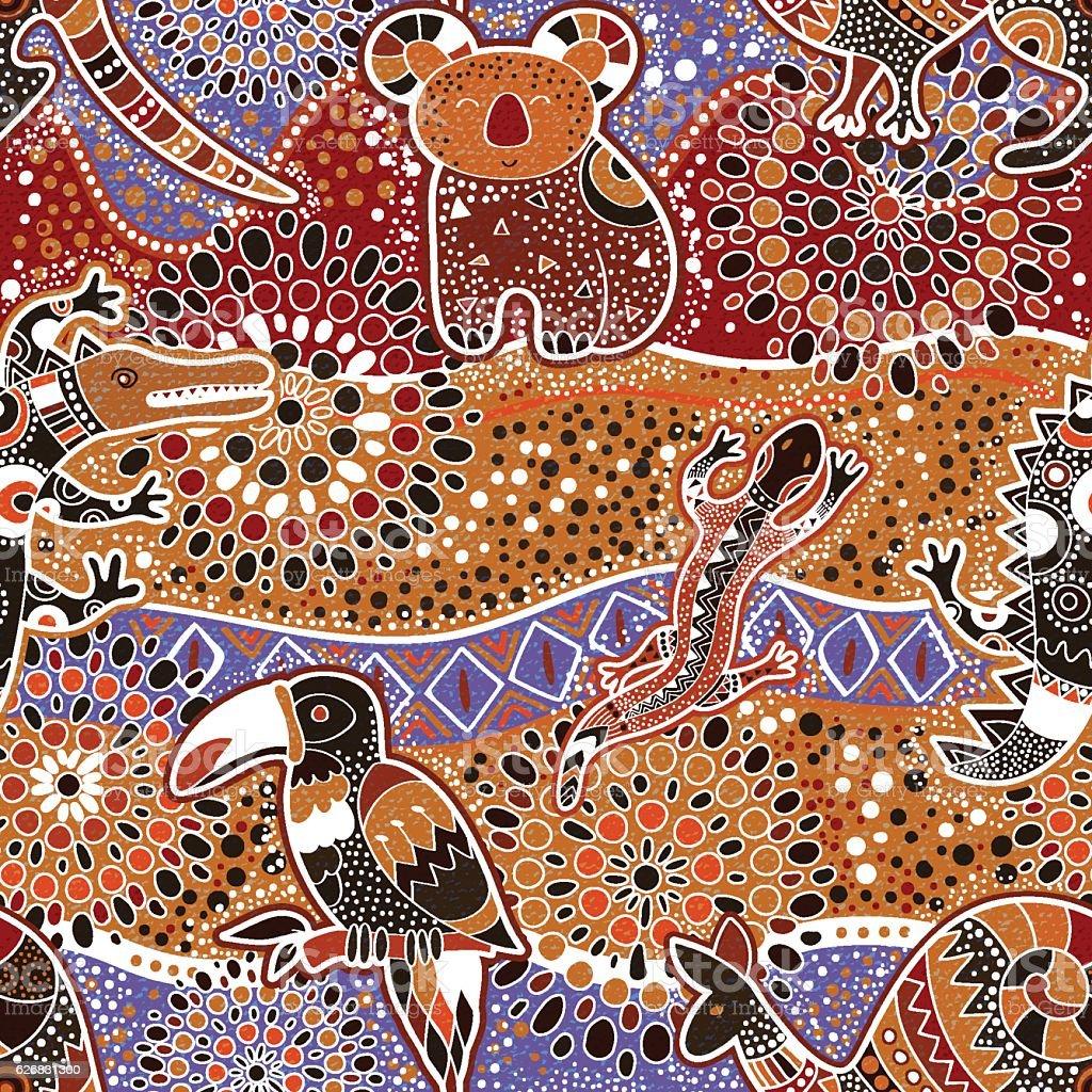 Australian seamless pattern vector art illustration