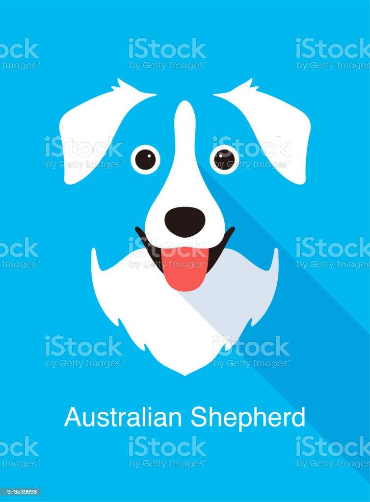 オーストラリアン シェパード犬の顔フラット アイコン デザインベクトル