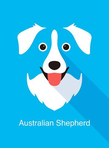 Australian Shepherd dog face flat icon design, vector illustration