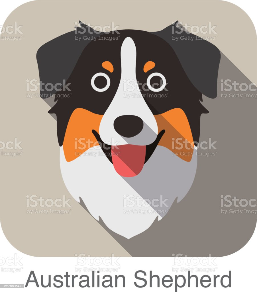 Australian Shepherd Dog Face Flat Icon Dog Series Stock Vector Art ...