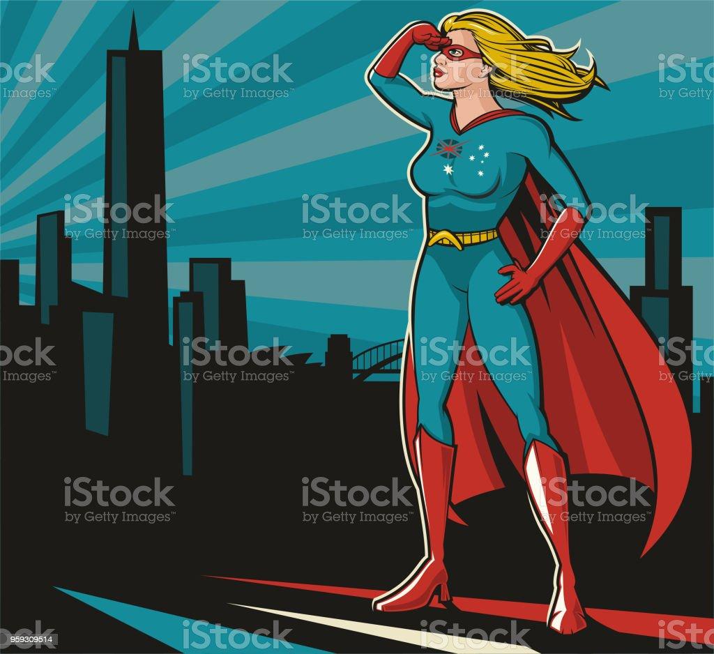 Australian Superwoman vector art illustration