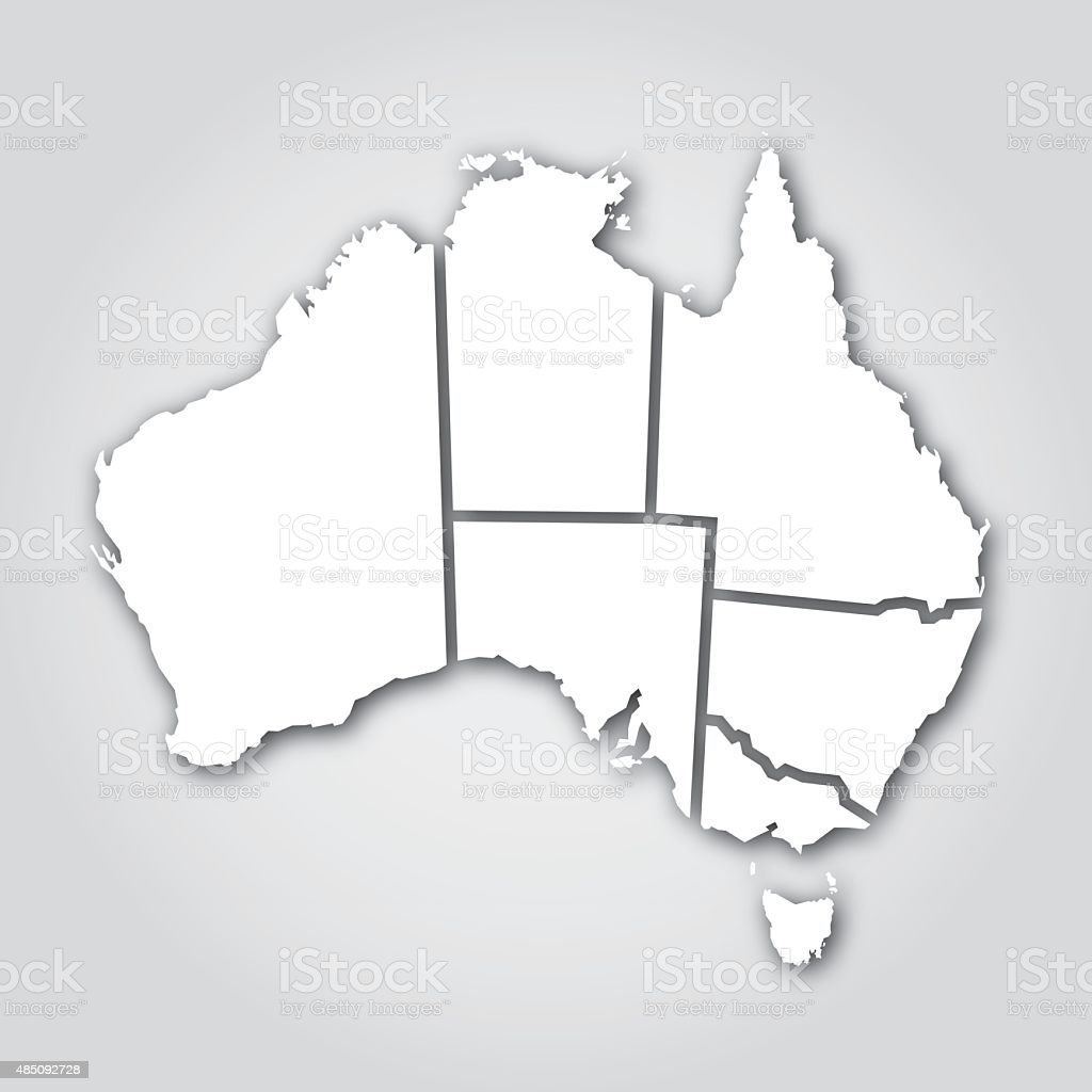 Australian Territories Silhouette White vector art illustration
