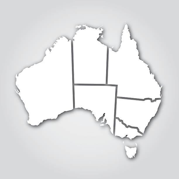 Australian territorios Silueta blanca - ilustración de arte vectorial