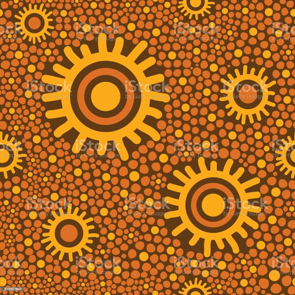 Australian tribes dot pattern vector seamless vector art illustration
