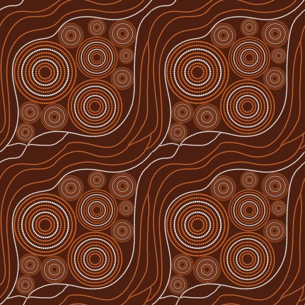 stockillustraties, clipart, cartoons en iconen met australische stammen patroon vector naadloze - tribale kunst