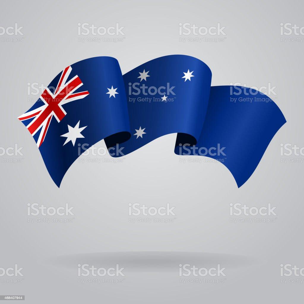 オーストラリア手を振るフラグです。ベクトルイラストレーション ベクターアートイラスト