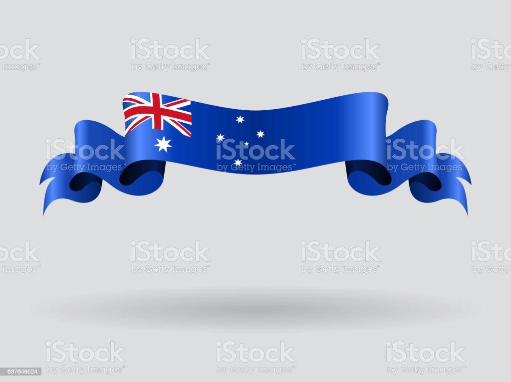 Australian wavy flag. Vector illustration. vector art illustration
