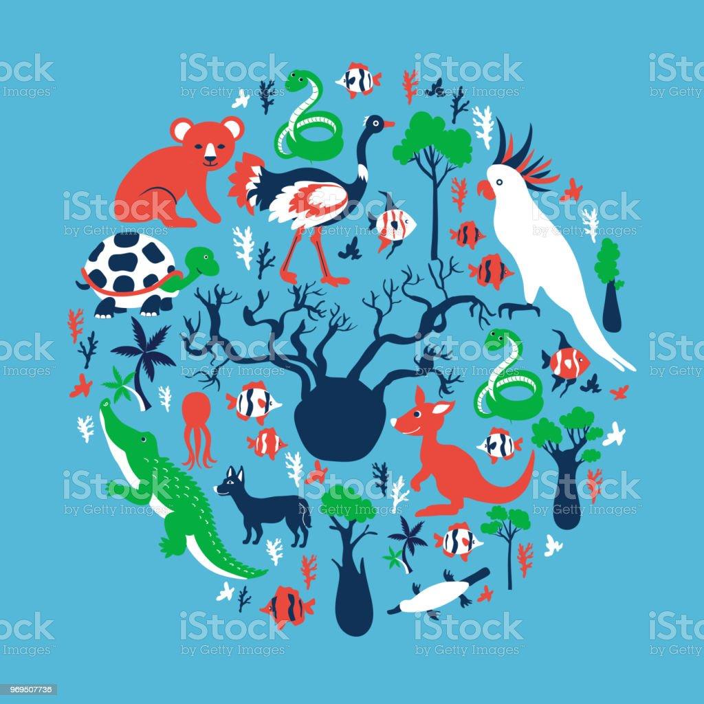Australische Wildtiere Bunte Bäume Vektorcartoon Illustration Runde ...