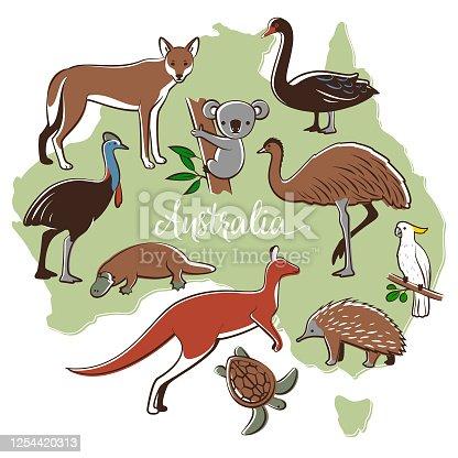Australian map with wild animals.