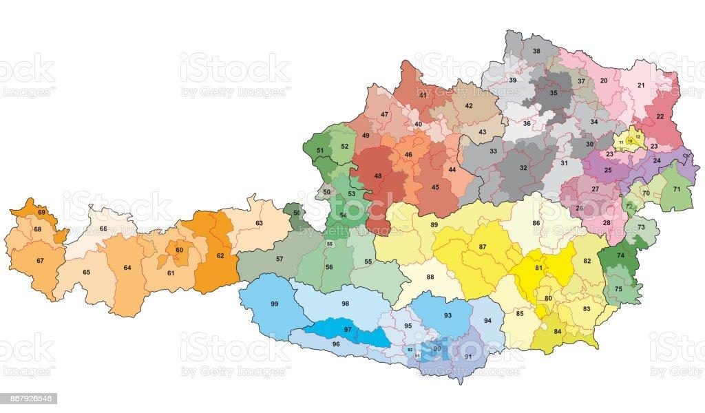 Plz Karte.2stellige Postleitzahlen Karte Osterreich Stock Vektor Art