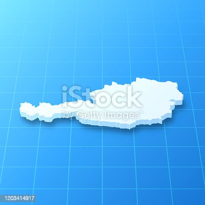 3D map of Austria isolated on a blank blueprint, with a dropshadow (color used: blue and white). Vector Illustration (EPS10, well layered and grouped). Easy to edit, manipulate, resize or colorize.
