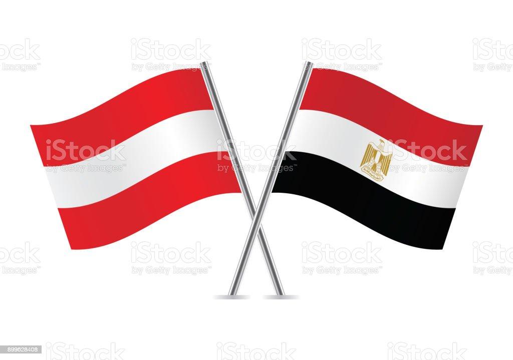 Austria and Egypt flags. Vector illustration.