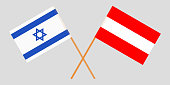 Austria and Israel. The Austrian and Israeli flags. Official colors. Correct proportion. Vector