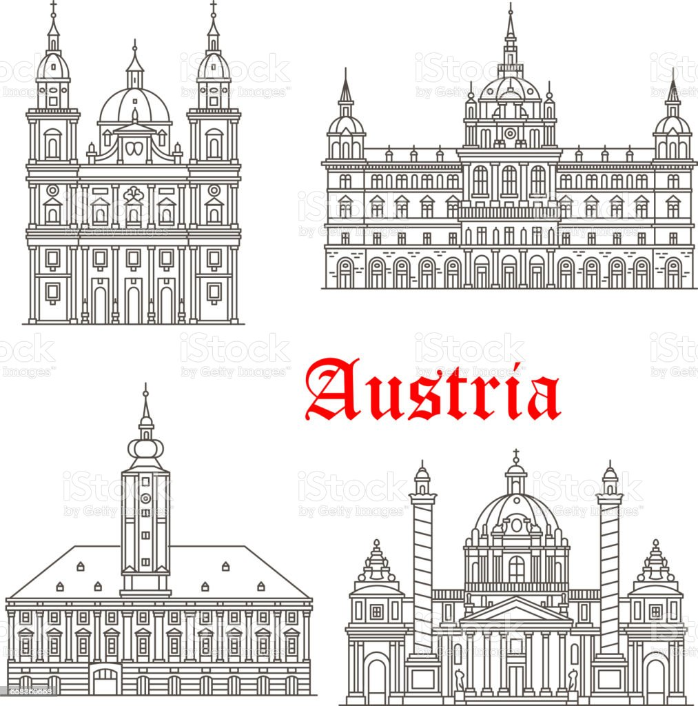 Austria architecture buildings vector icons vector art illustration