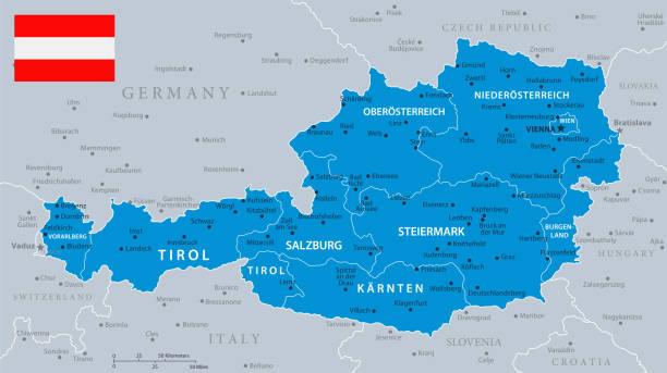 bildbanksillustrationer, clip art samt tecknat material och ikoner med 33 - österrike - blå grå 10 - salzburg
