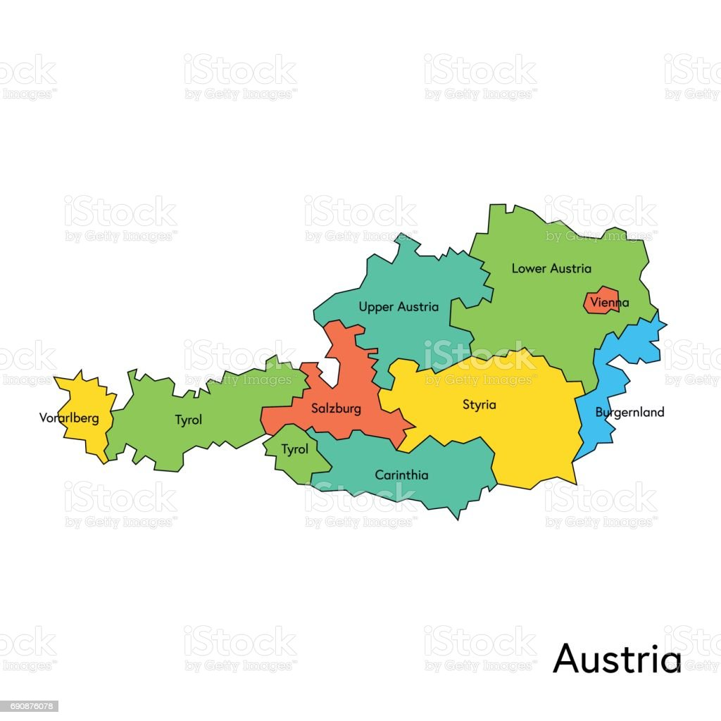 Austria Color Map With Regions And Names Stock Vector Art - Austria regions map