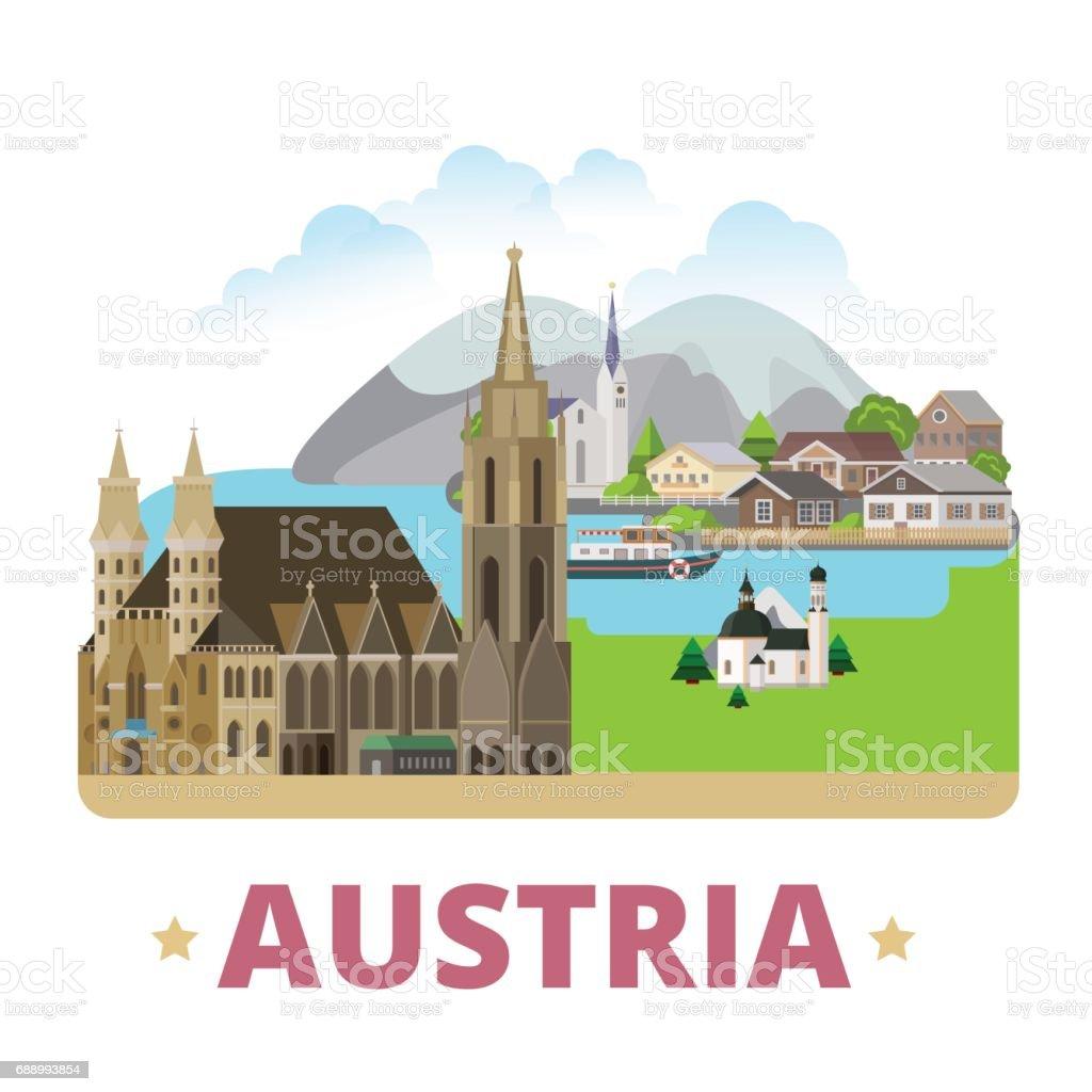 Austria country badge fridge magnet design template. Flat cartoon style web site vector illustration. World vacation travel sightseeing Europe European collection. Stephansdom Hallstatt Lake Seefeld. vector art illustration