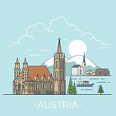 Austria country design template. Linear Flat famous historic sight; cartoon style web site vector illustration. World travel and showplace in Europe, European vacation collection.