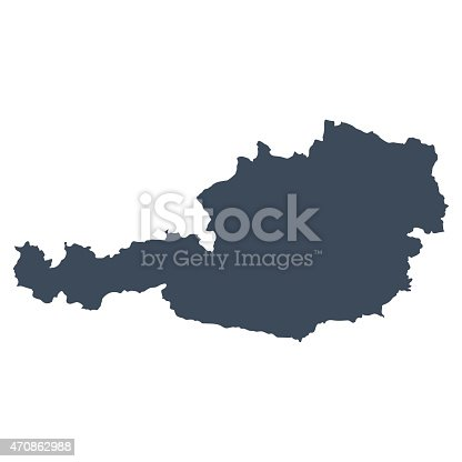 A graphic illustrated vector image showing the outline of the country Austria. The outline of the country is filled with a dark navy blue colour and is on a plain white background. The border of the country is a detailed path.