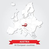 Austria. Europe administrative map.