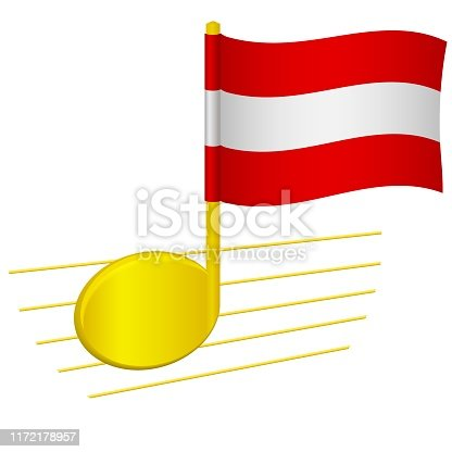 Austria flag and musical note. Music background. National flag of Austria and music festival concept vector illustration