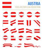 Austria - Flag Icon Flat Vector Set