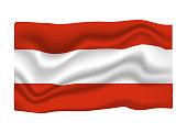 Austria Flag Icon. National Flag Banner. Cartoon Vector illustration.