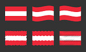 Austria flag set, official colors and proportion of Republic of Austria flag