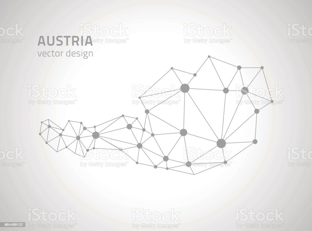 Austria grey dot outline perspective vector mosaic map vector art illustration